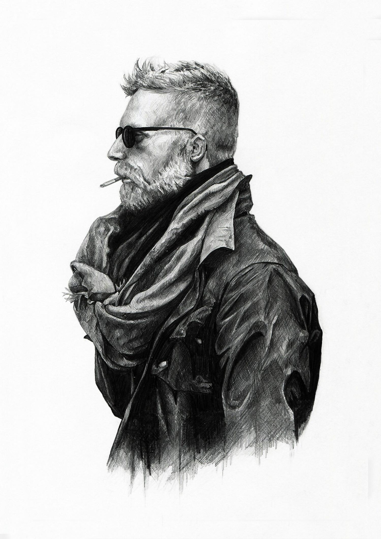 Ivan Kamargio illustration black white smoking man