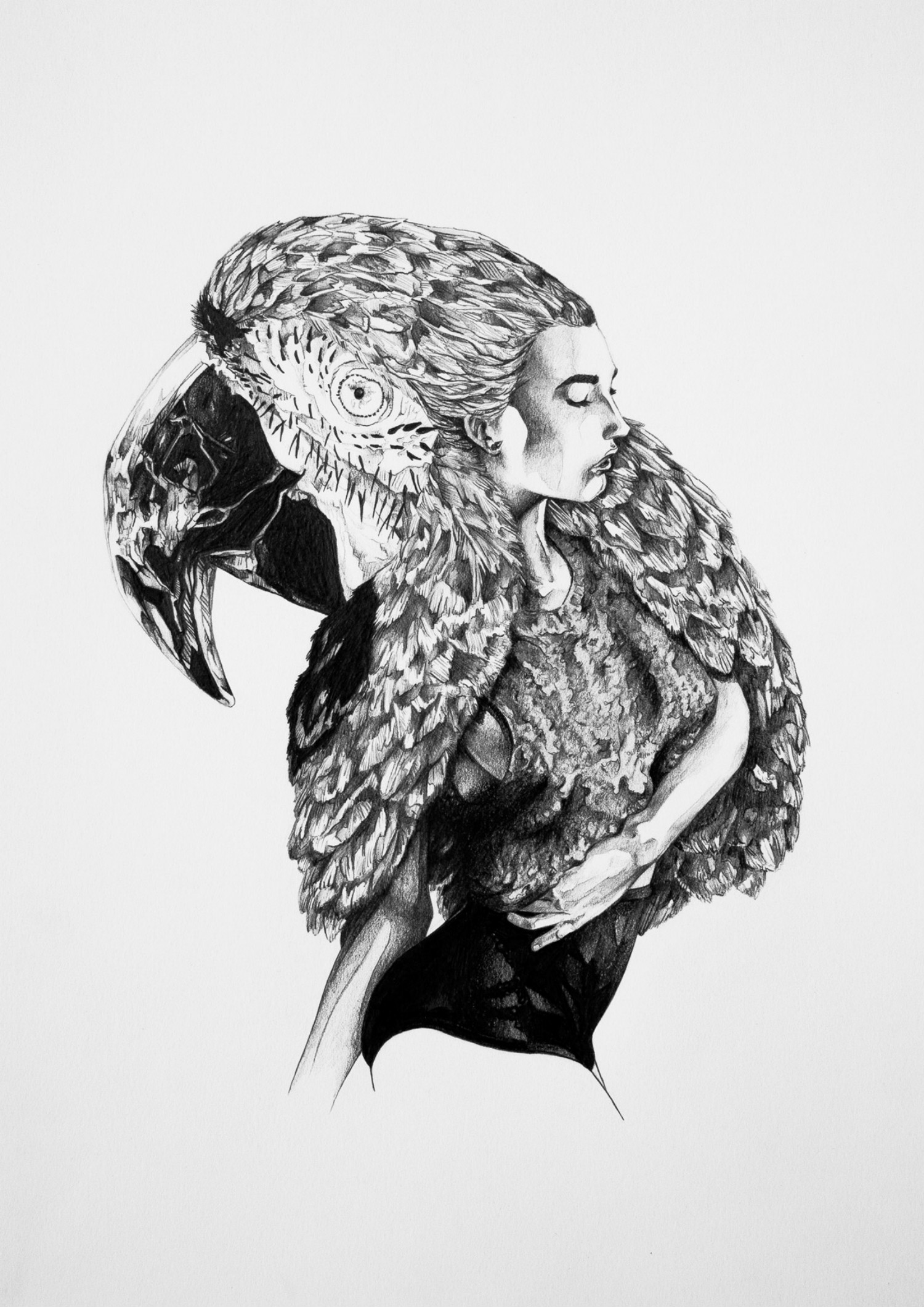 Ivan Kamargio illustration black white parrot woman