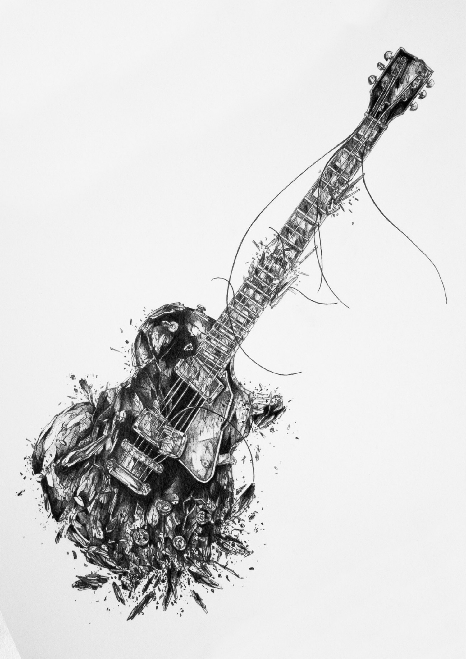 Ivan Kamargio illustration black white guitar