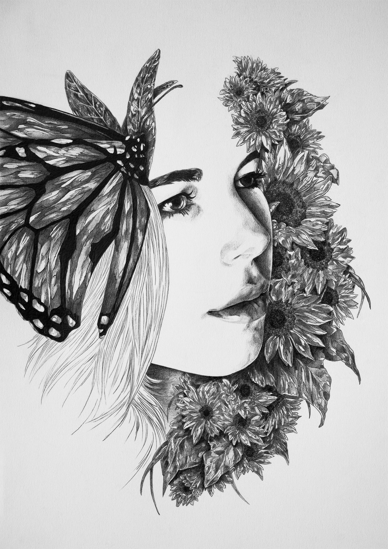 Ivan Kamargio illustration black white butterfly flowers