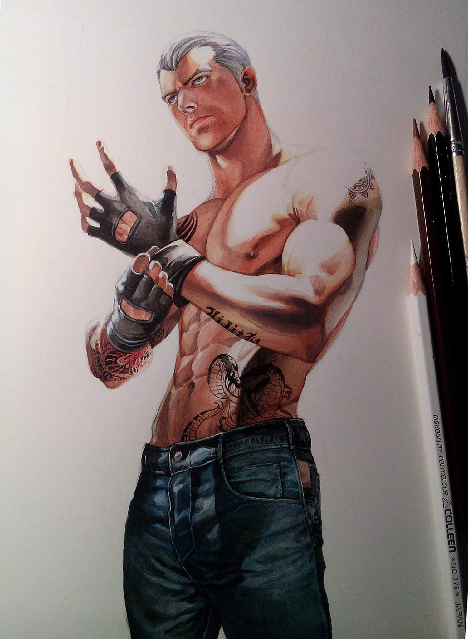 muscled guy with glove by Aenaluck