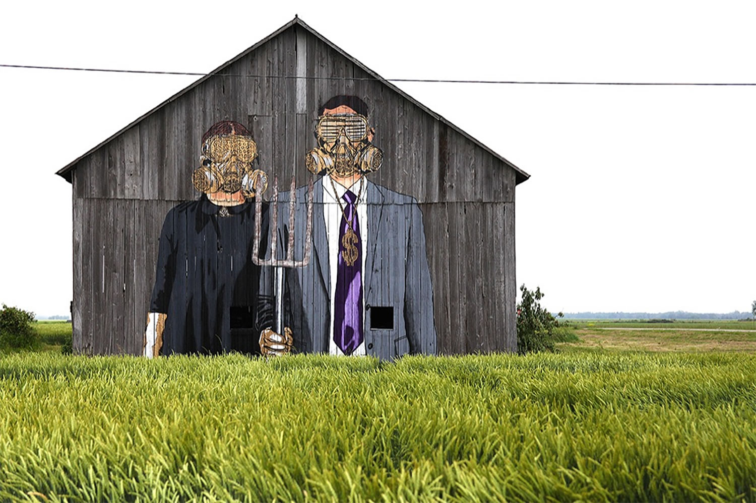 couple with gas mask, street art by Hygienic Dress League, american gothic remake