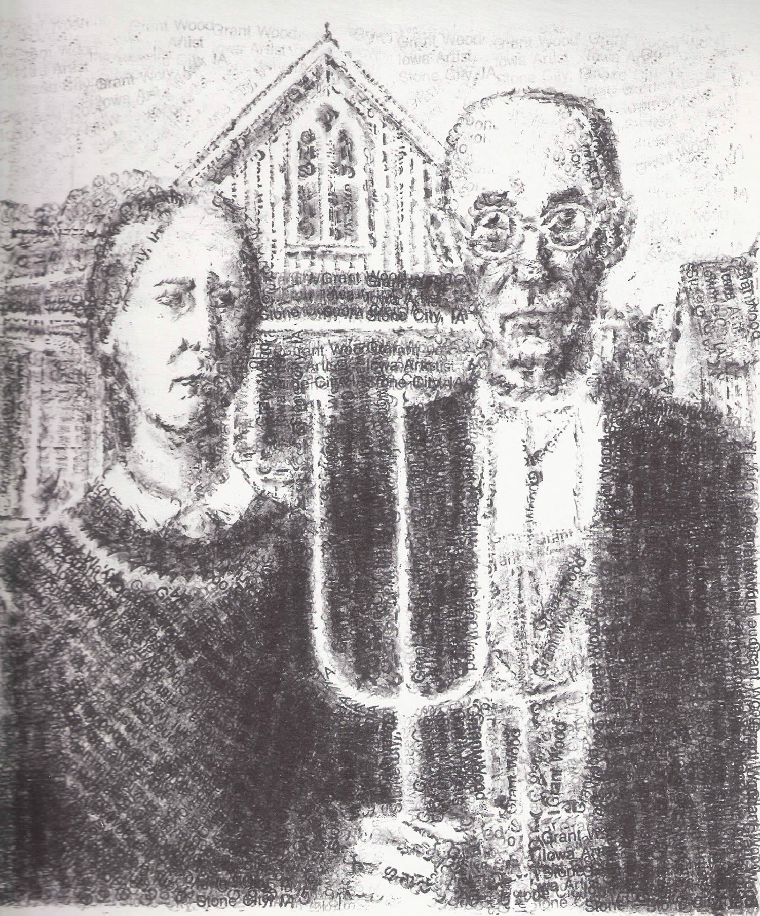 rubber stamp art by dave morice. American gothic remake