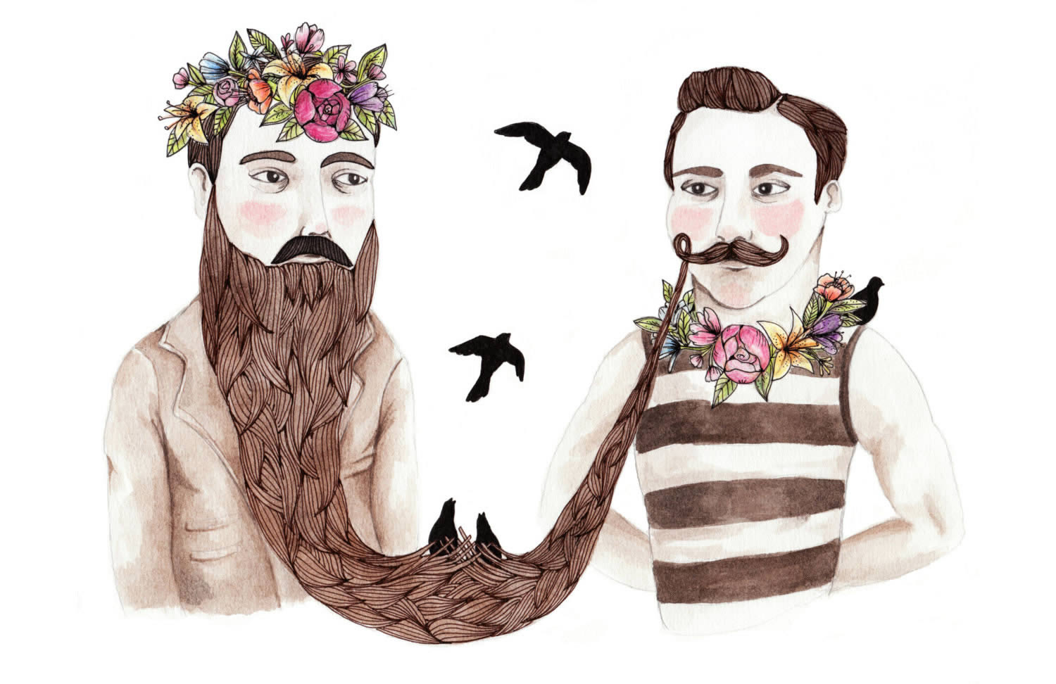 moustache men with flowers and birds by brooke weeber