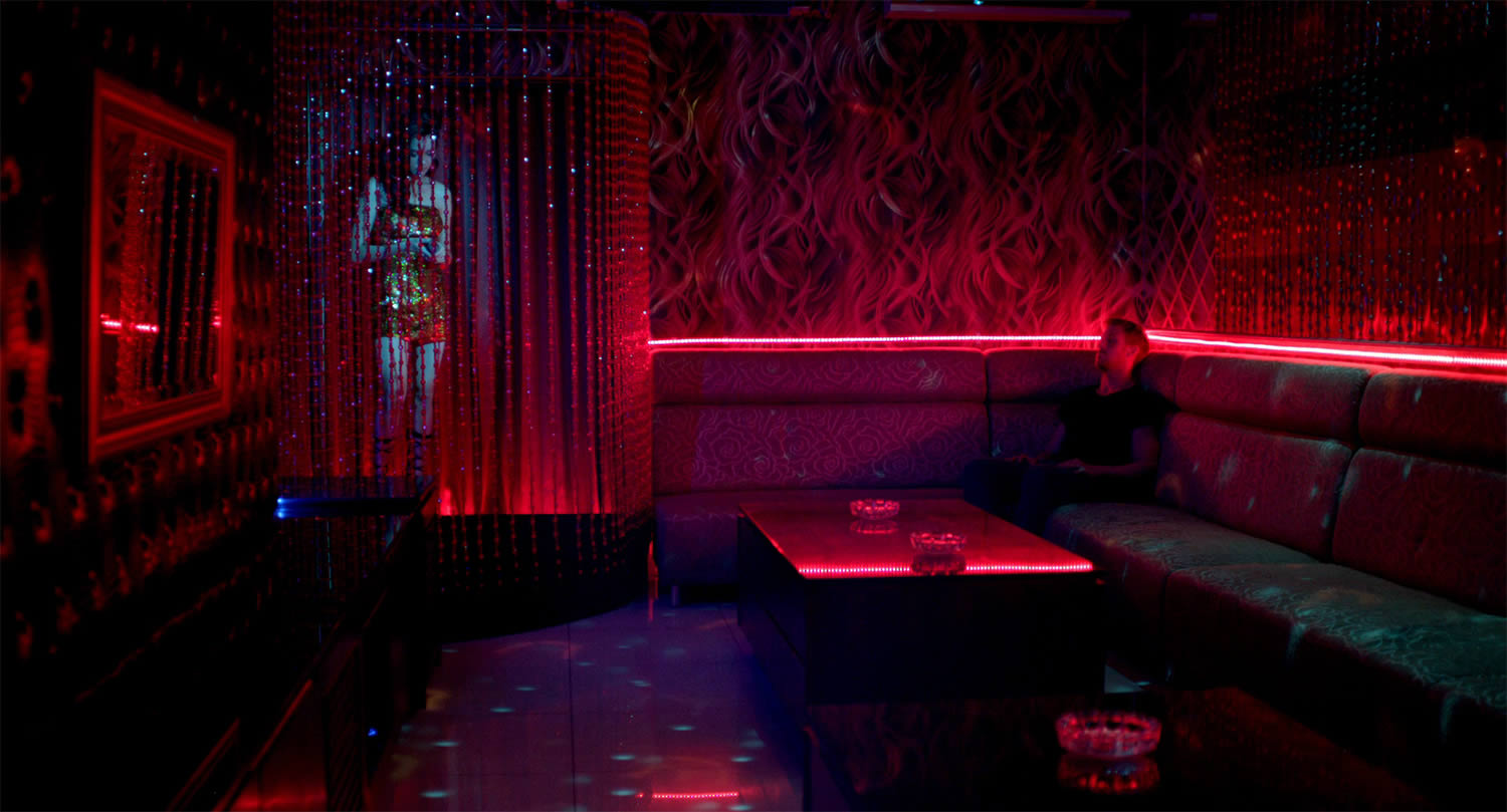 red and blue lounge scene in only god forgives