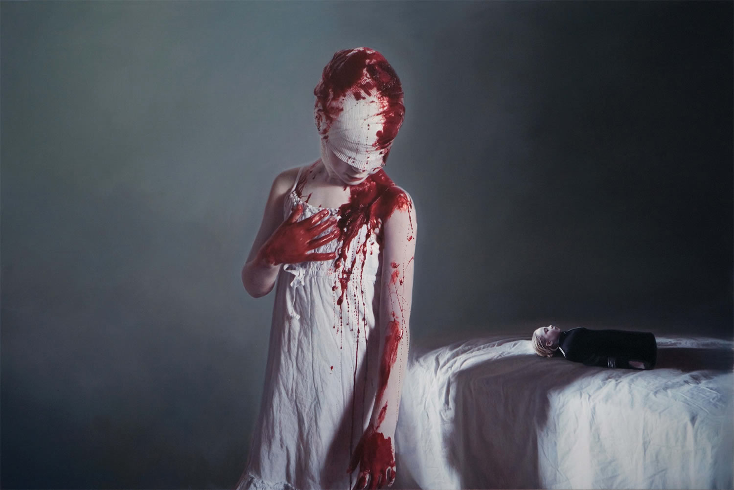 The Disasters of War 3, hyperrealist painting of girl with bloody bandages, by gottfried helwein