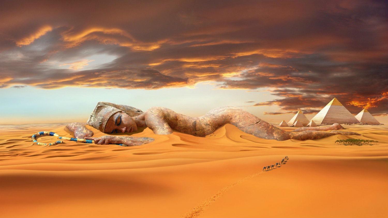 hans peter kolb fantasy landscape pharaoh desert