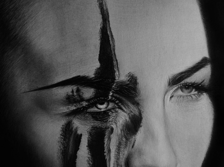 kit king drawing photo realism black white