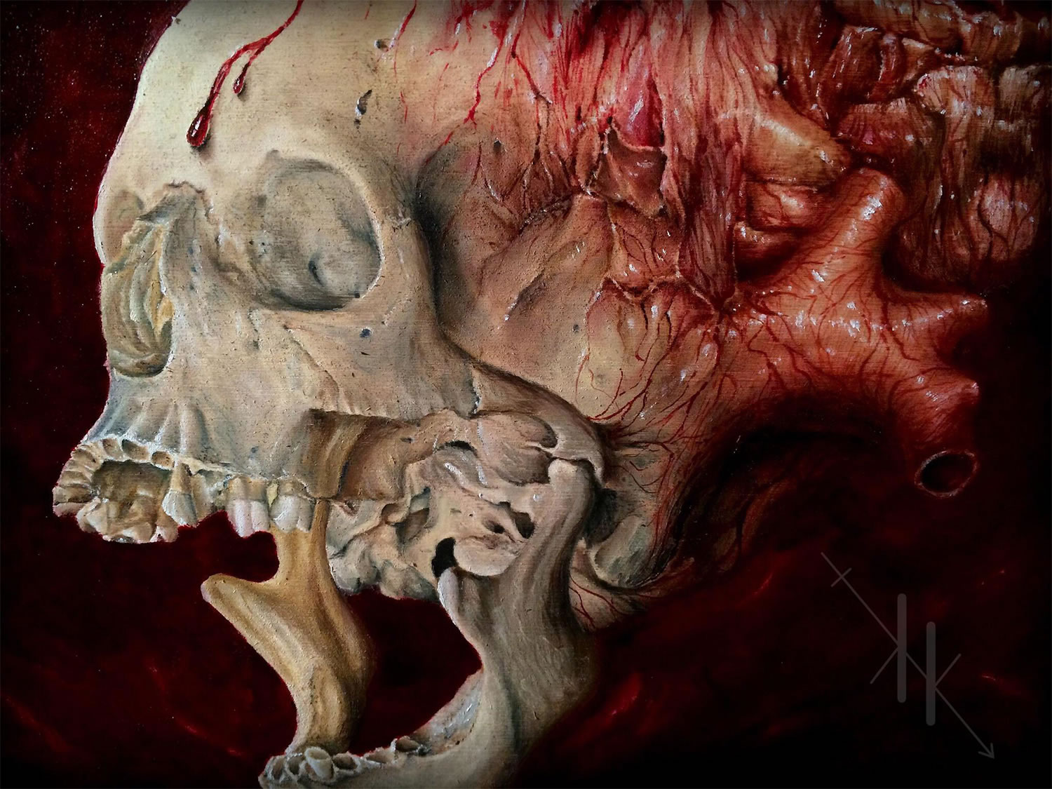 skull with blood and brains by kit king