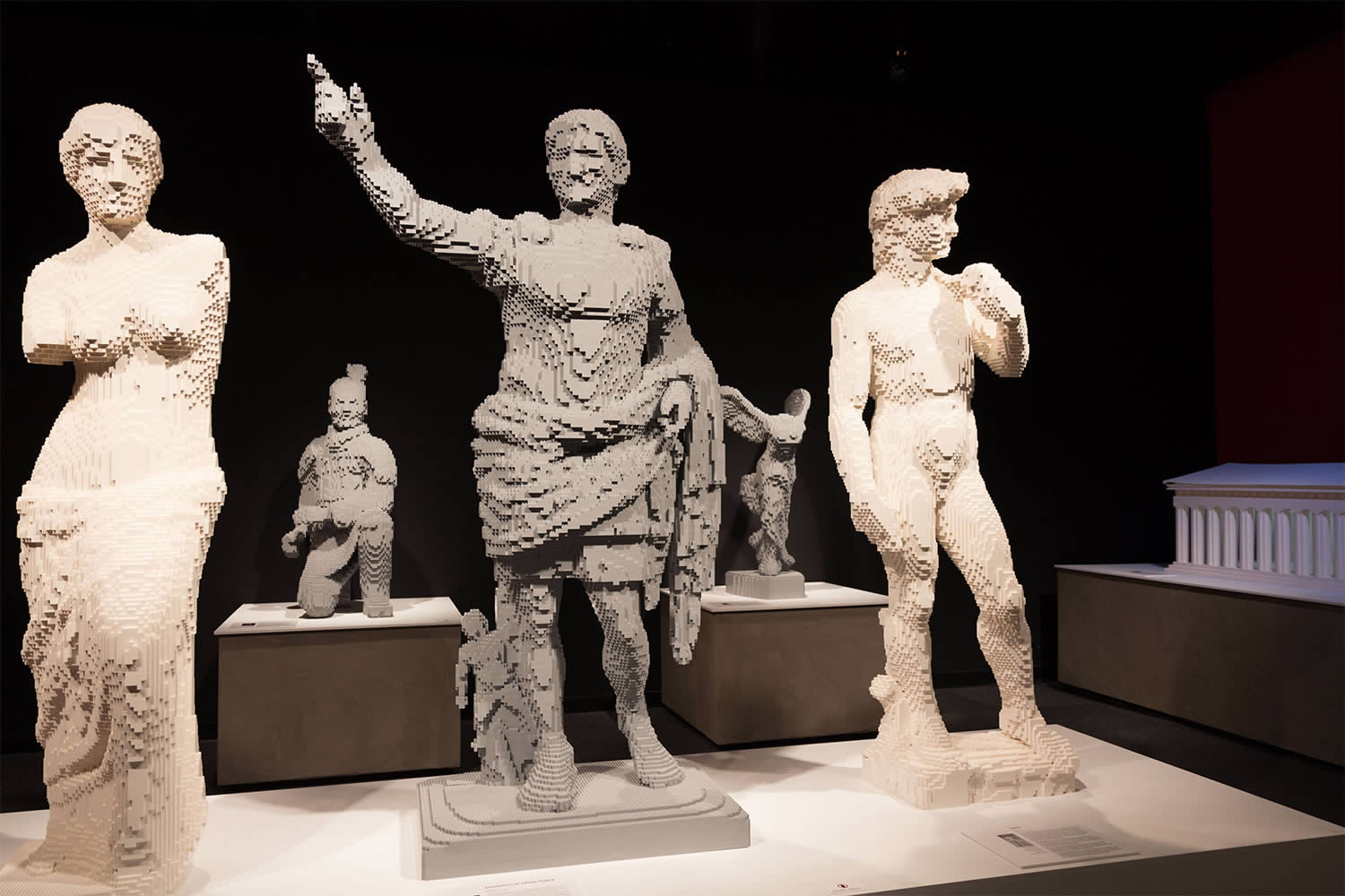 david and classical art figures, lego by nathan sawaya