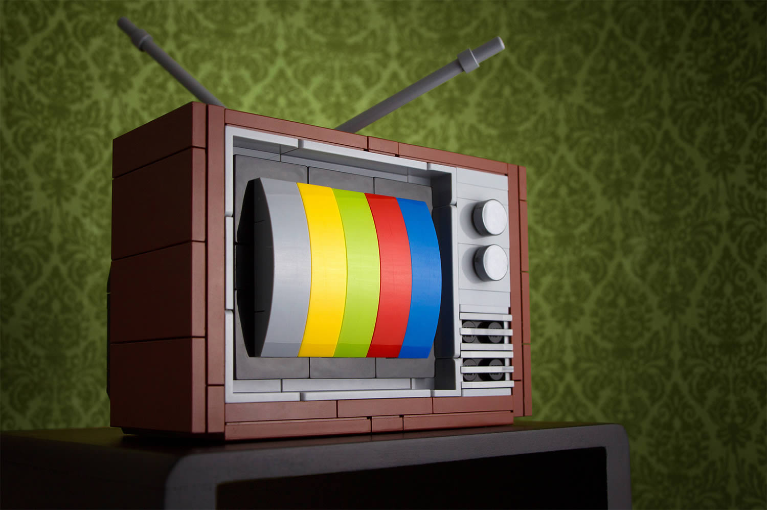 57 channels and nothing on,lego art, a television by Chris McVeigh