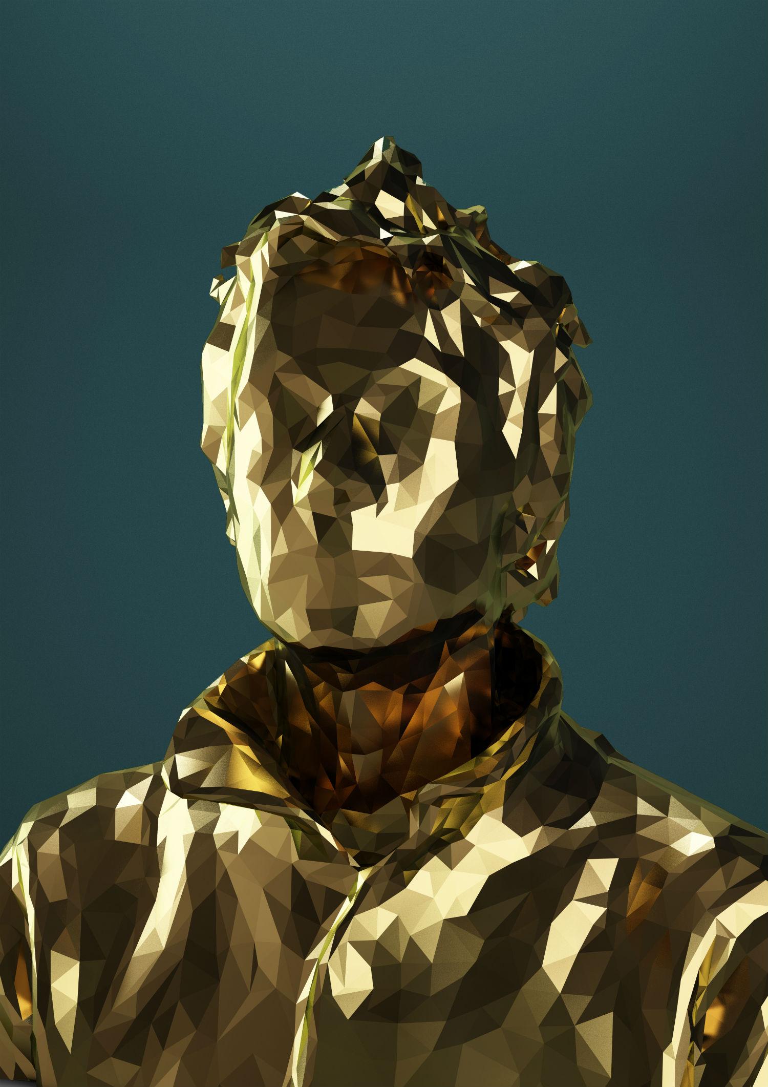 mike pelletier digital sculpture gold portrait