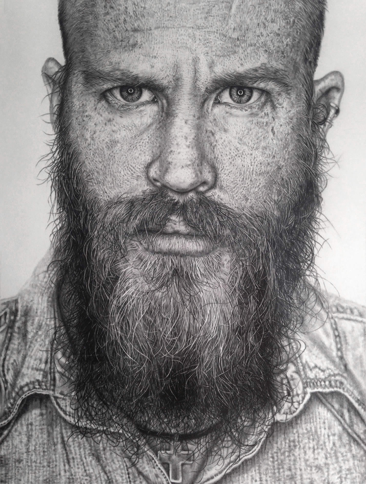 freckle man with beard, drawing, hyperrealist by monica lee
