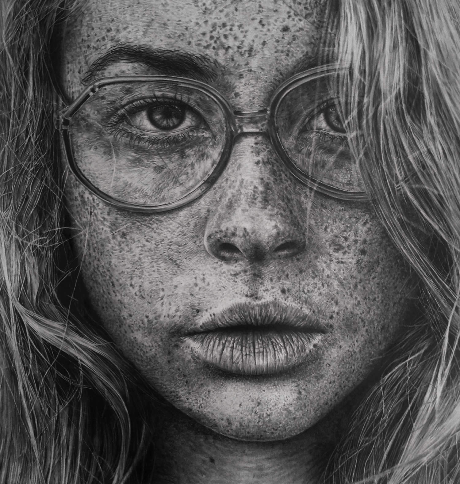 freckle girl with glasses by monica lee