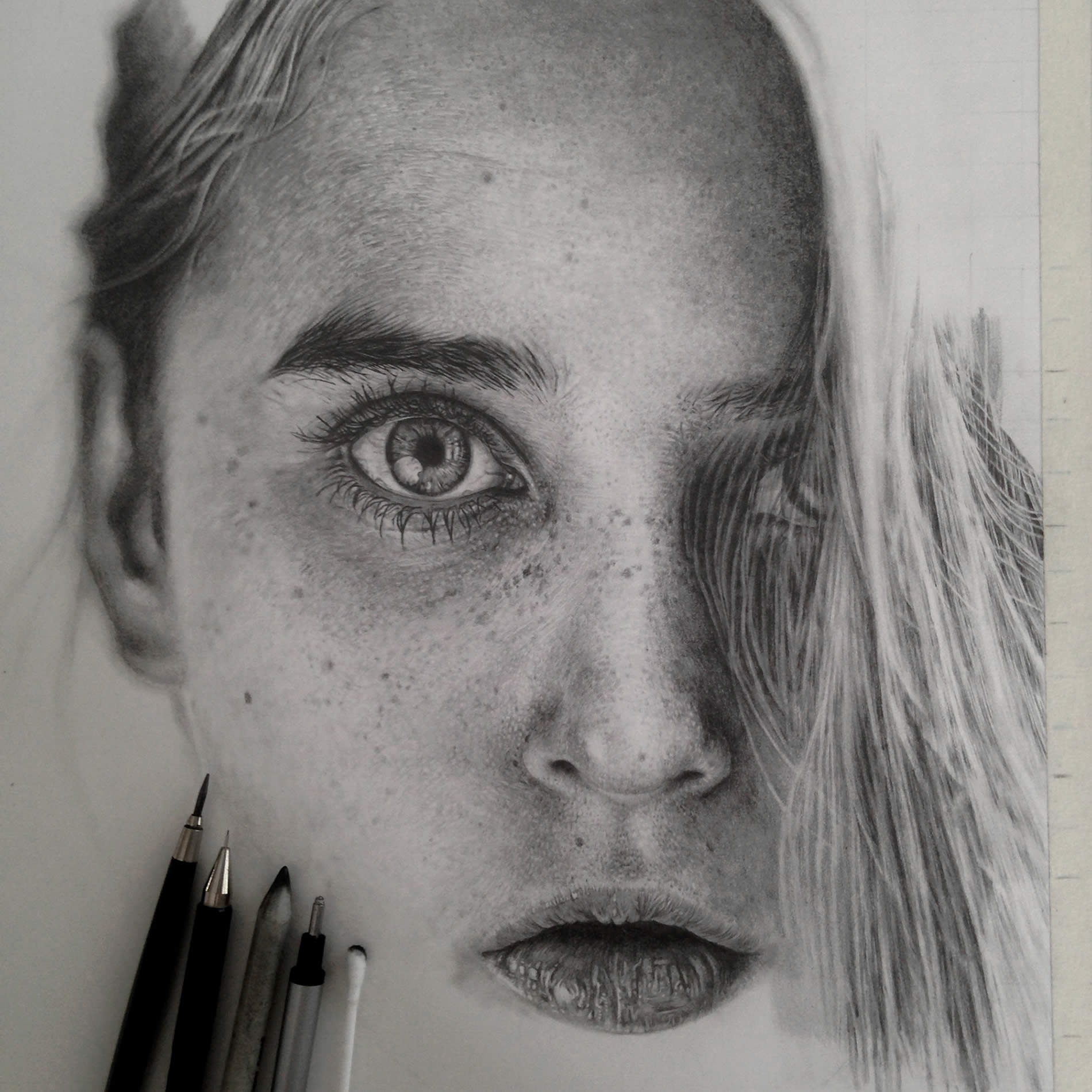 bright eyed girl, drawing, photorealist by monica lee