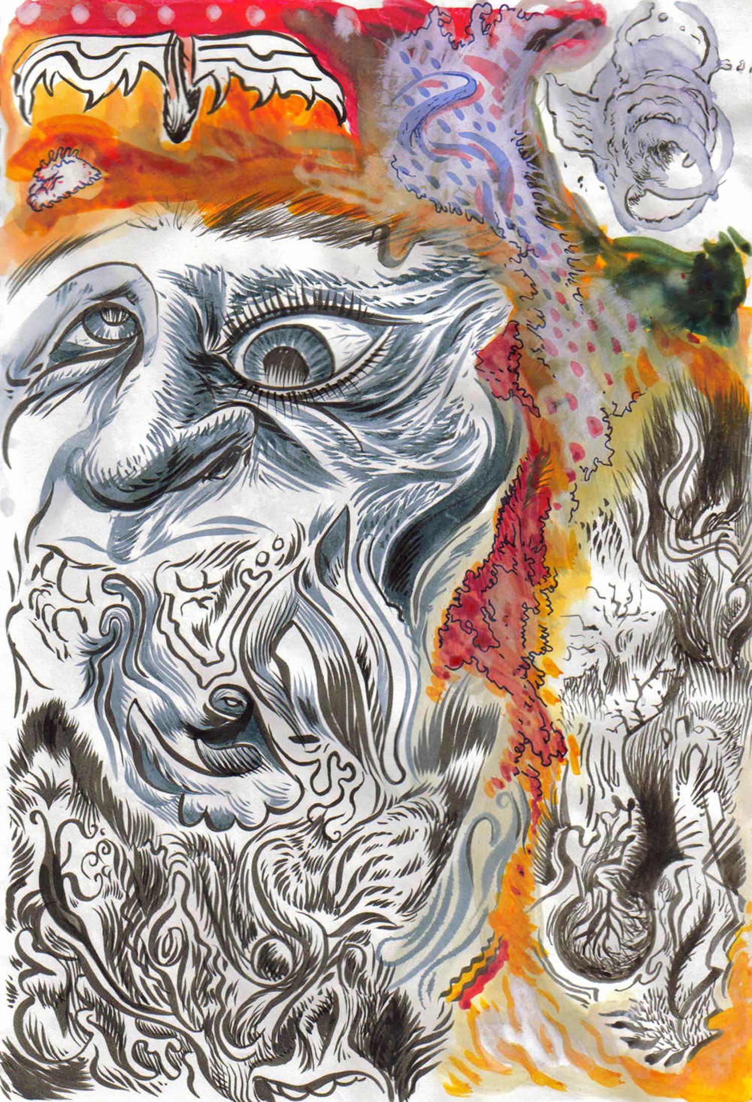 man's face doodle by monocat