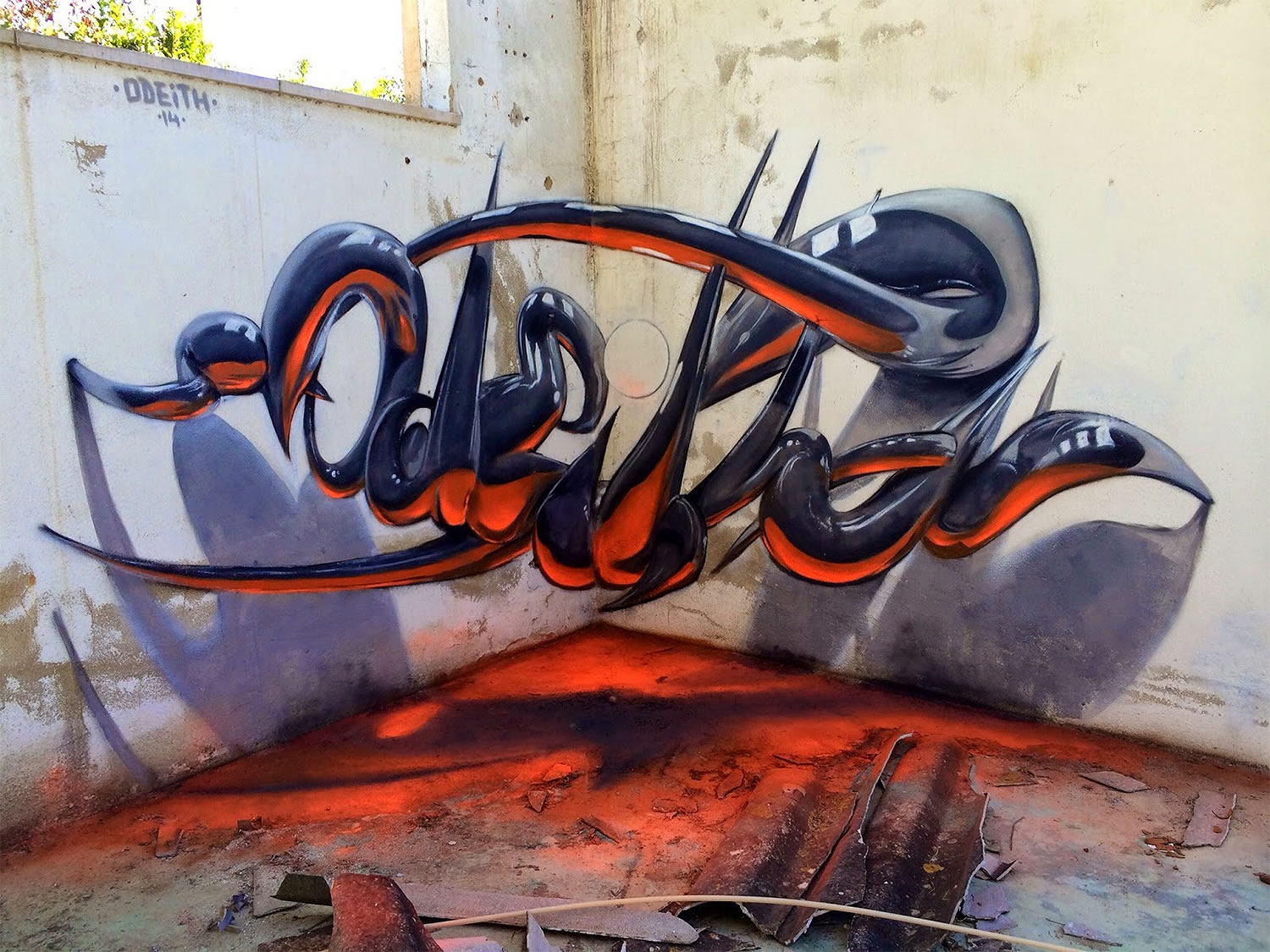 Crazy glowing red and grey lettering graffiti by odeith