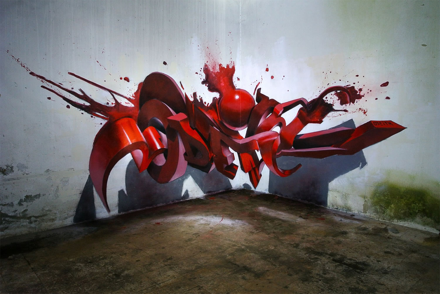 red paint splatter letters, graffiti by odeith