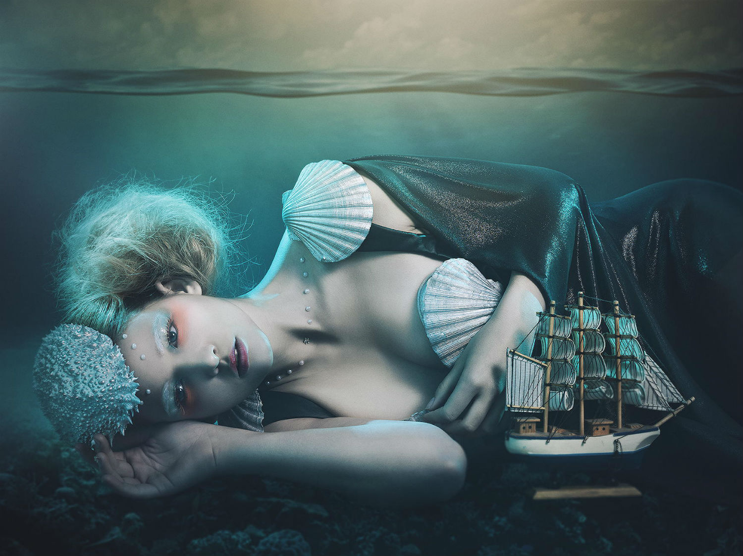 rebecca saray photography surreal Digital fantasy ship sea