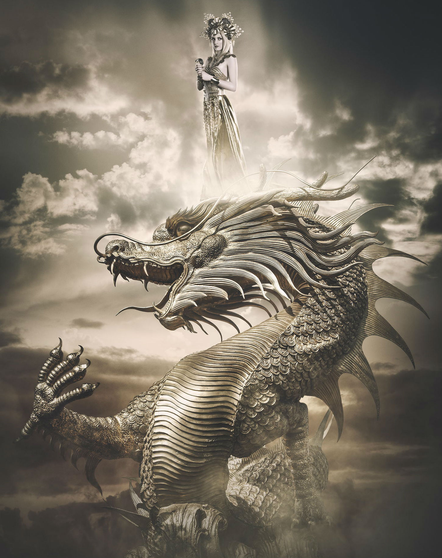 rebecca saray photography surreal Digital fantasy golden dragon