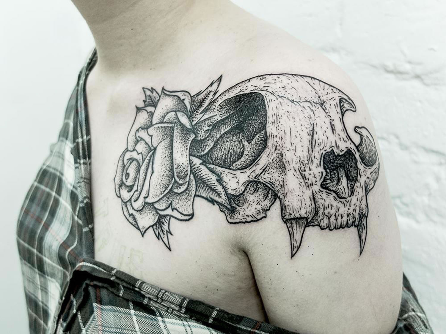 animal skull and rose by roman boyko