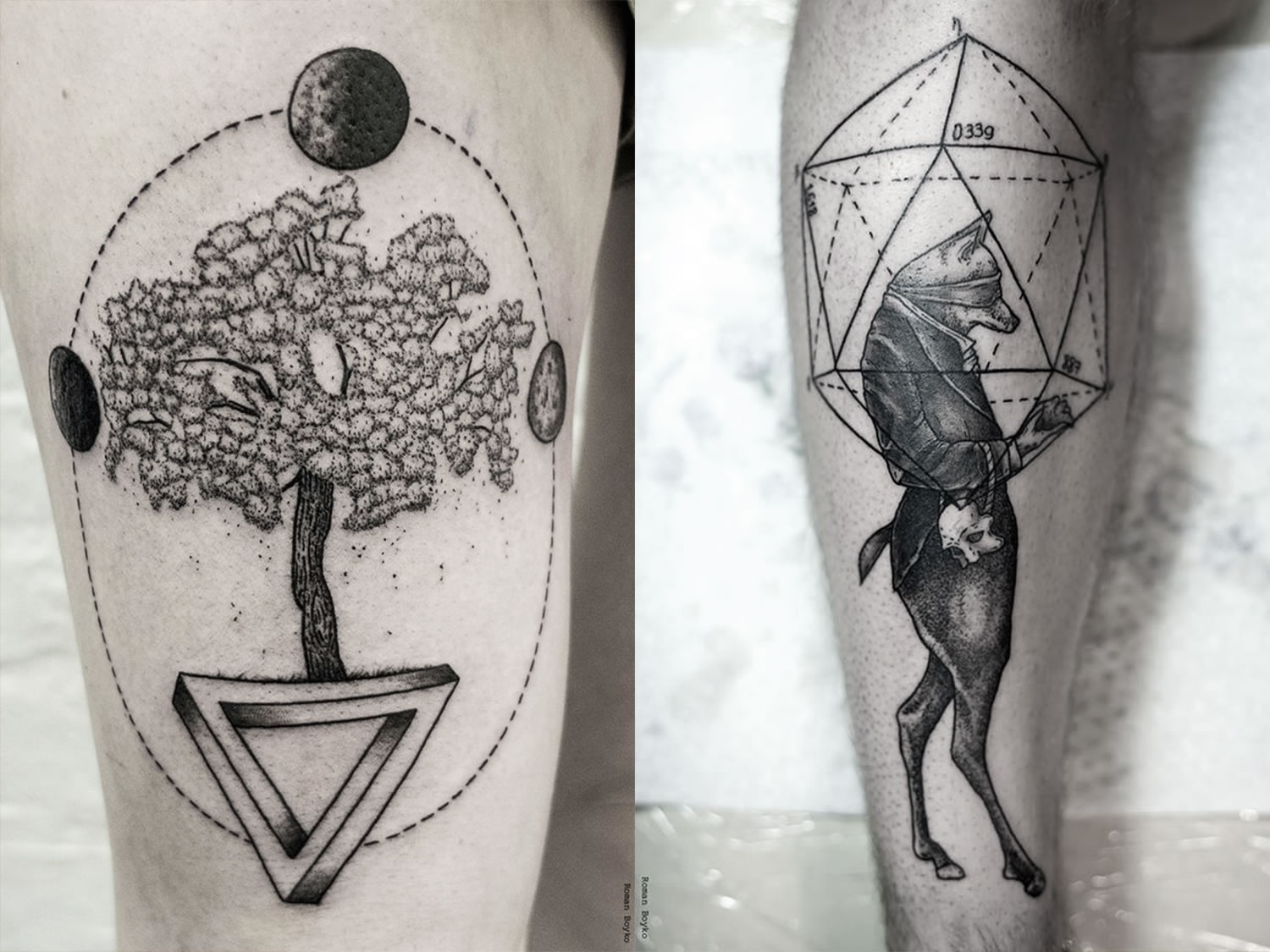 trre and impososible triangle and fox tattoos by by roman boyko