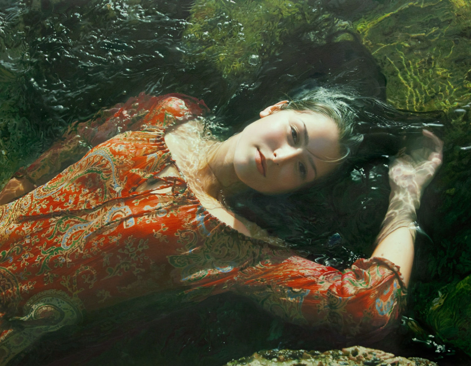 yigal ozeri hyperrealism painting girl water