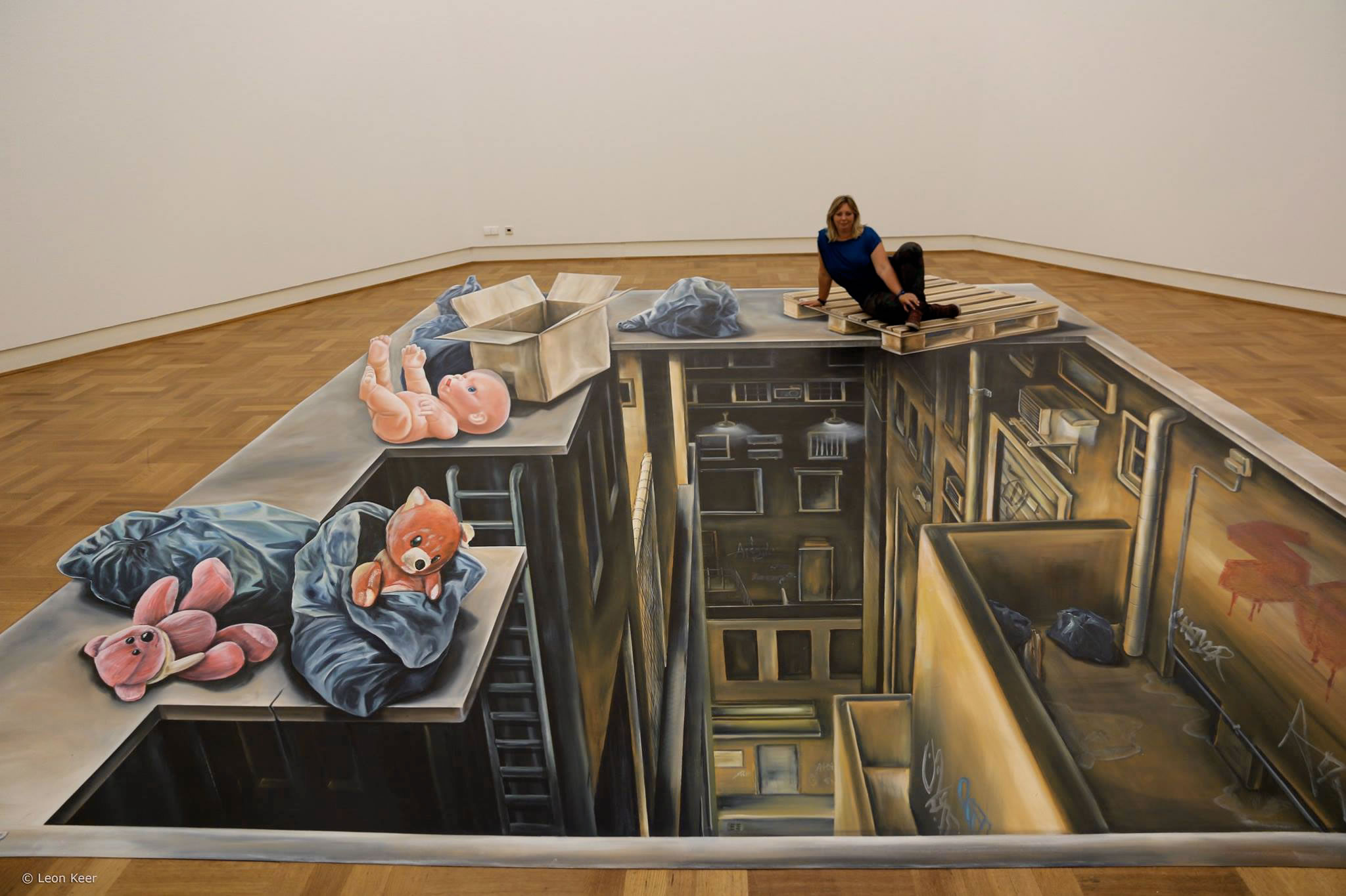 teddy bears and underworld in museum, anamorphic 3d art by leon keer