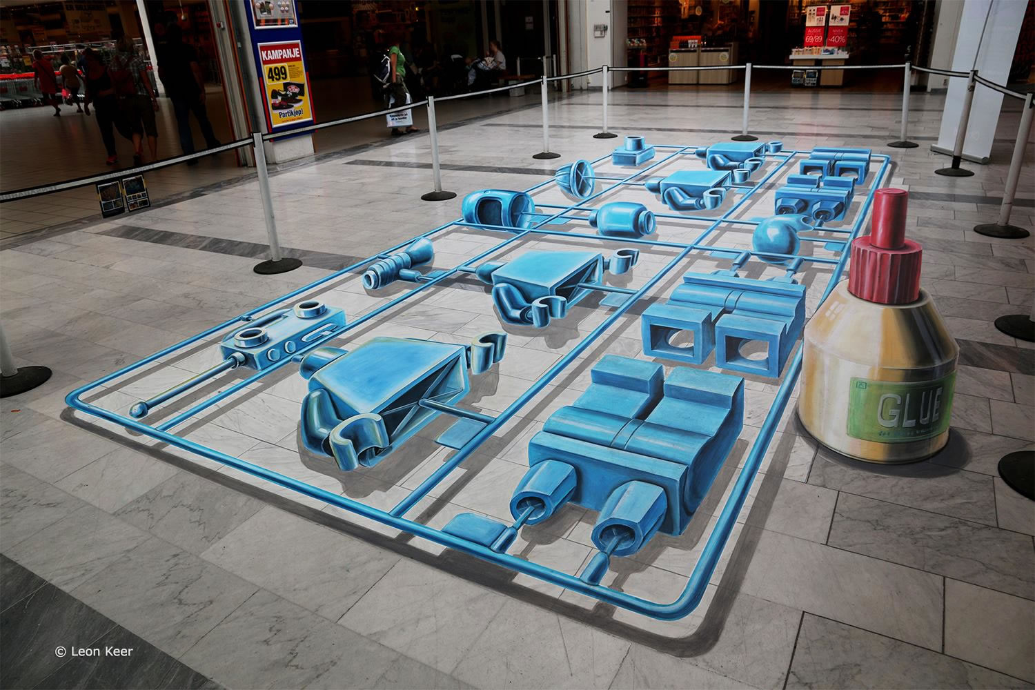 blue robot parts, anamorphic 3d art by leon keer