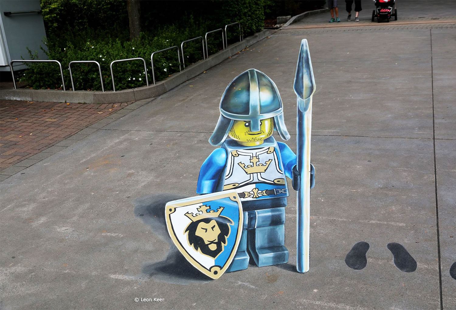 front view of lego soldier, anamorphic 3d art by leon keer