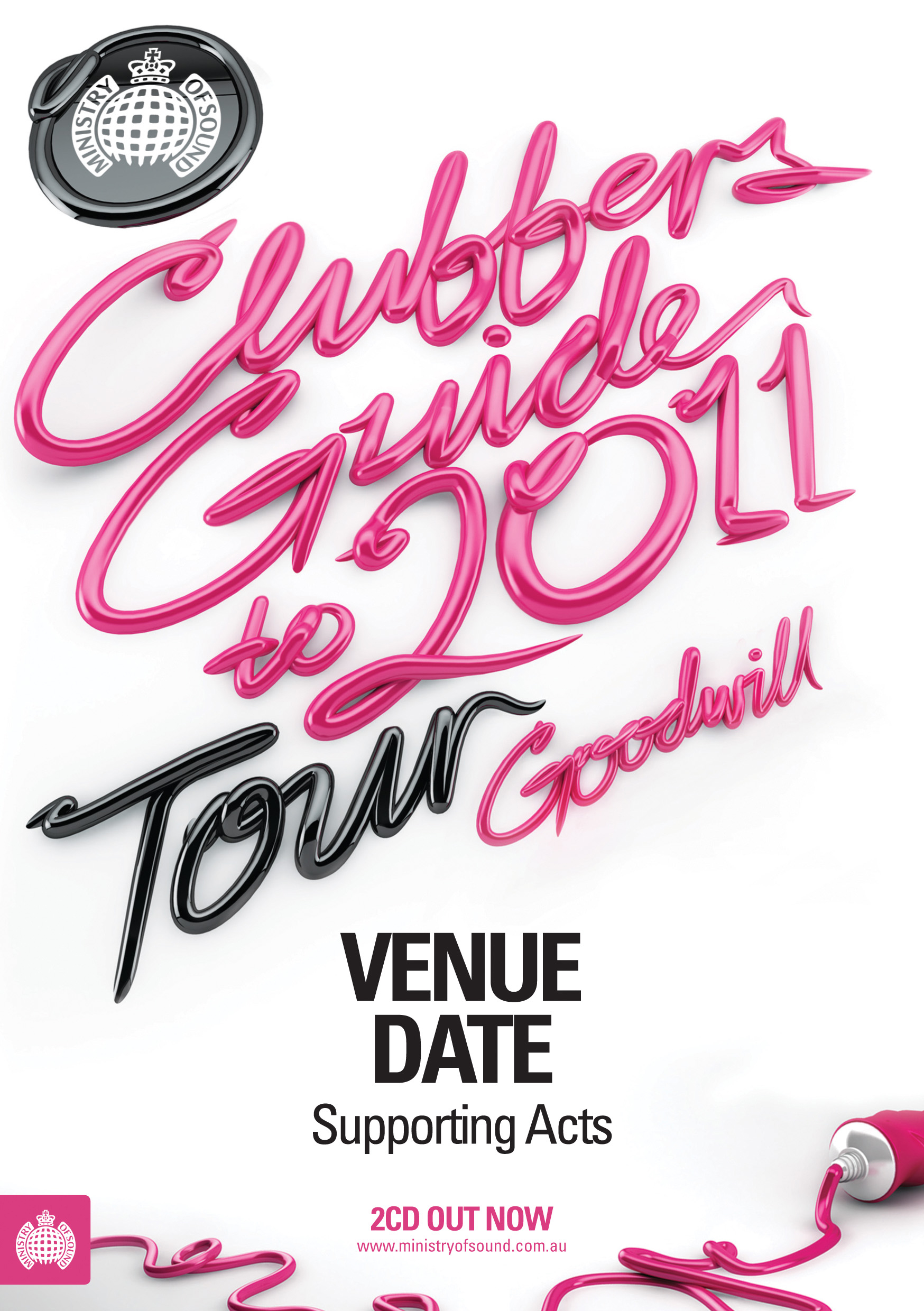 clubbers guide to 2011, 3d letters in pink like toothpaste, by luke choice