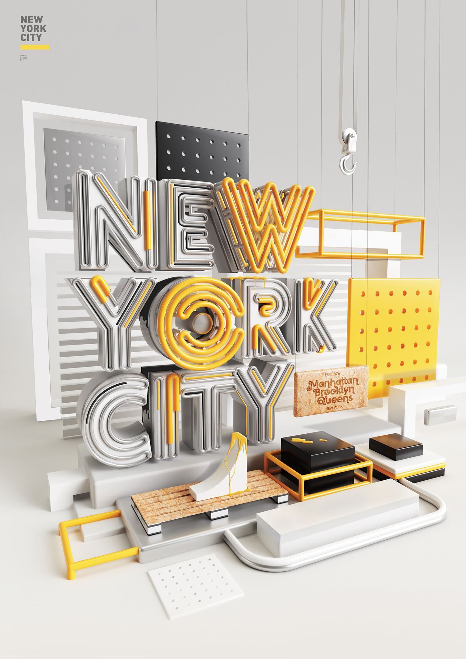 new york city lettering in 3d, neon yellow lights by peter tarka