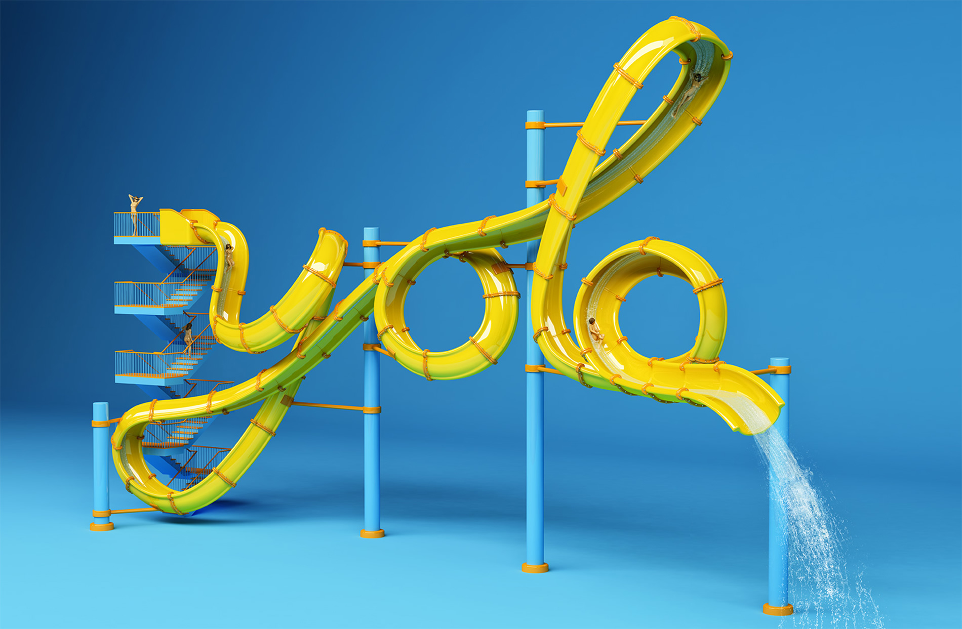 yola letters, yellow water slide by FOREAL