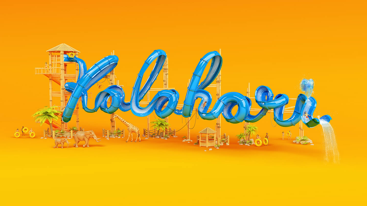 kalahari, water slide in blue, 3d typography by foreal