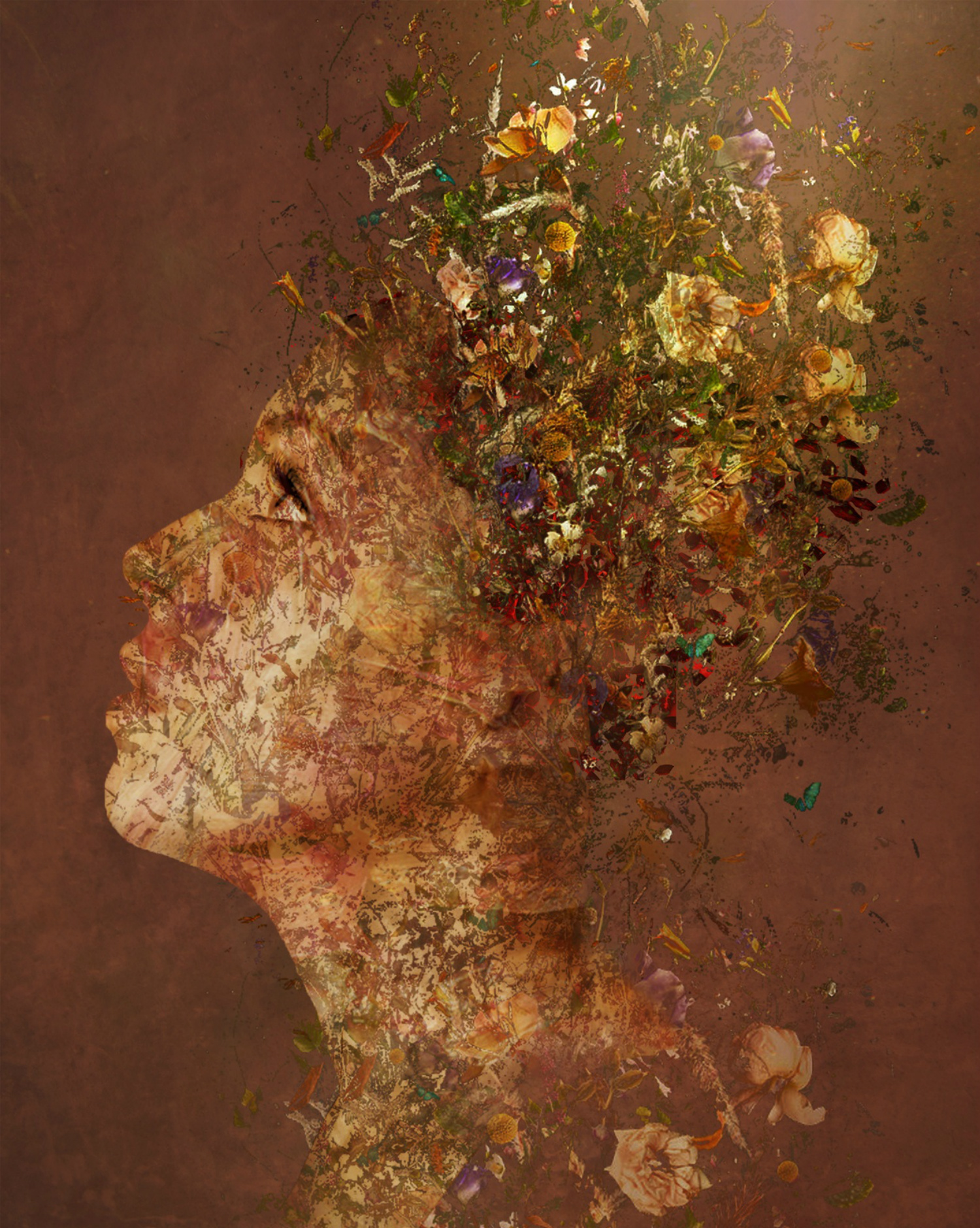 Bojan Jevtić digital art woman hair surreal flowers