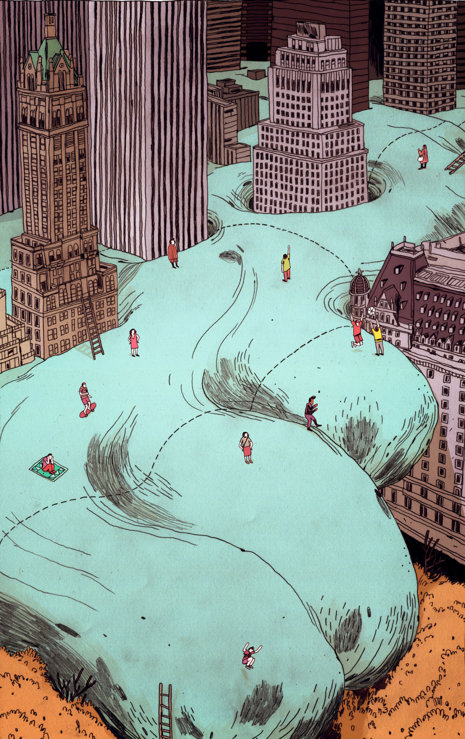 Jon Juarez illustration colour tidal wave city