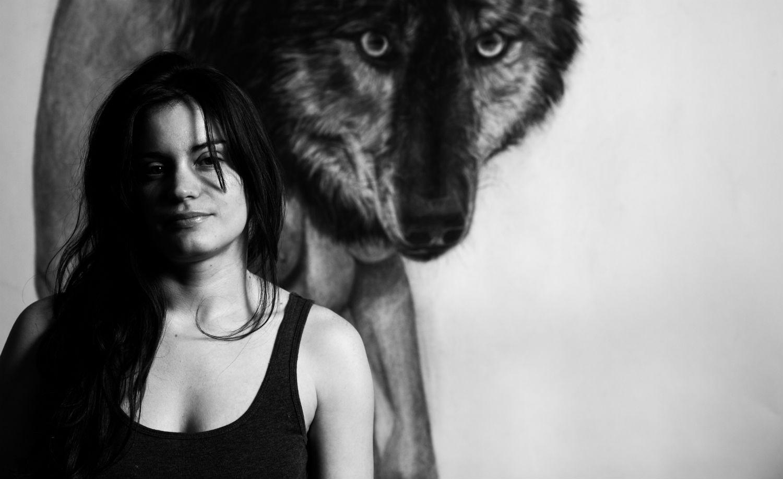 kelly blevin black white illustration artist wolf