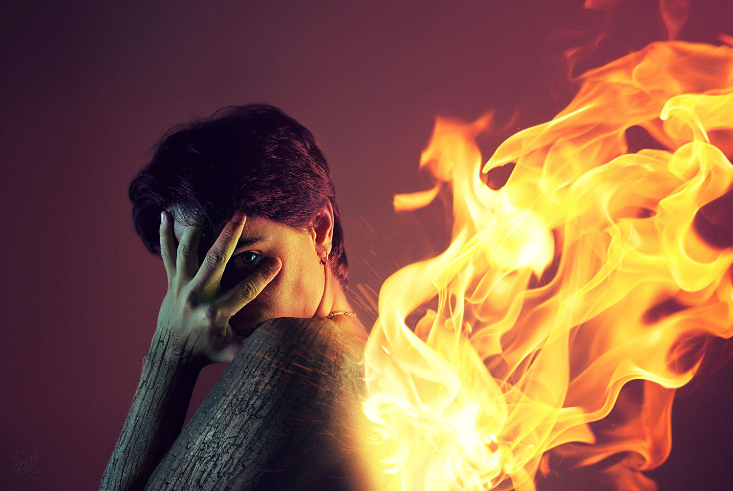 Rubén Chase surreal photography fire portrait