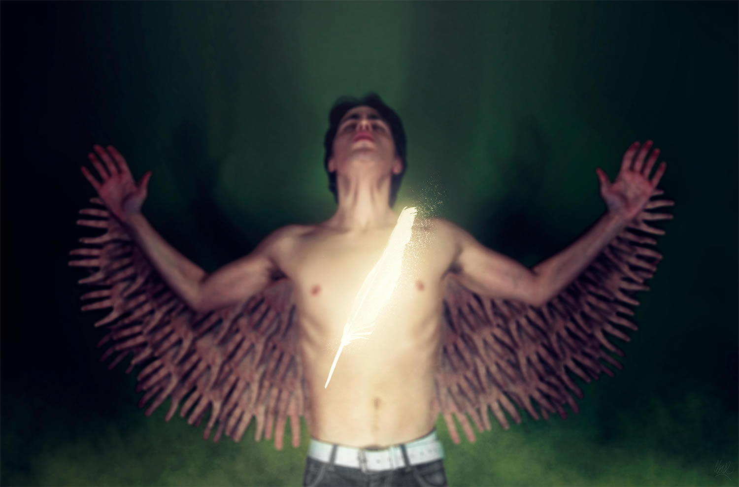man with wings, wings made of hands. By ruben chase