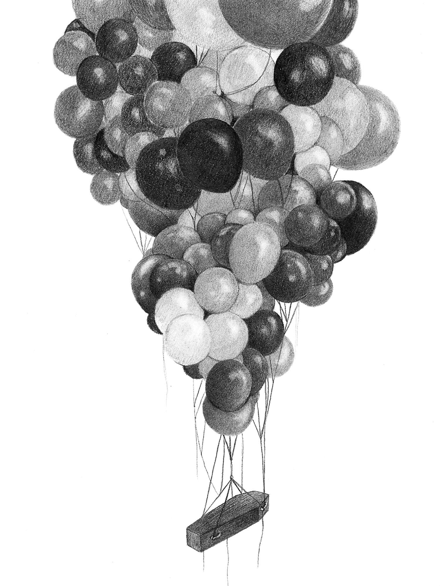 Alejandro García Restrepo illustration black white pencil balloons