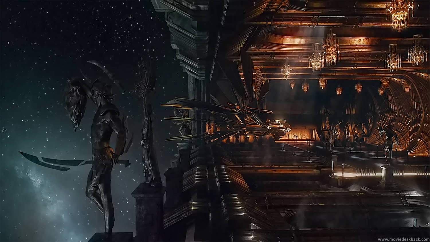 Jupiter Ascending, science fiction movie. Dark scene in space