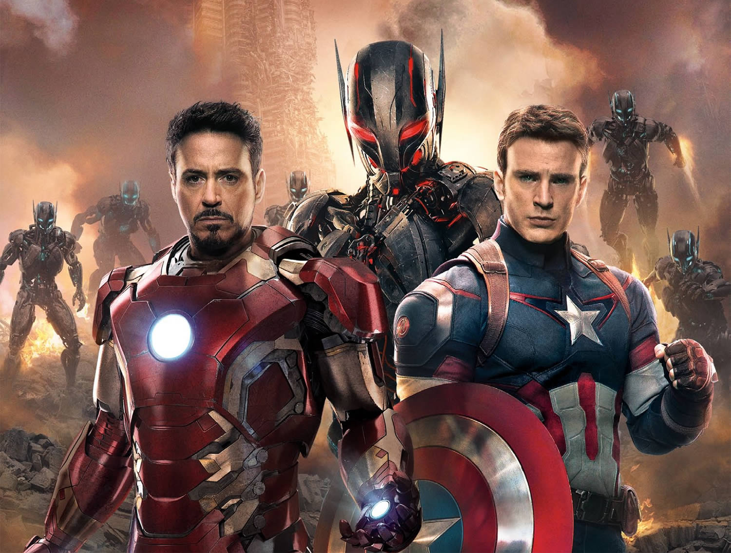 iron man and captain america in Avengers: Age of Ultron movie 2015