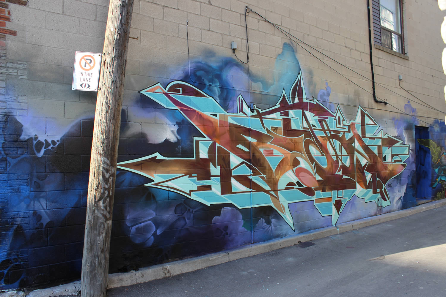 side view of bacon's graffiti art