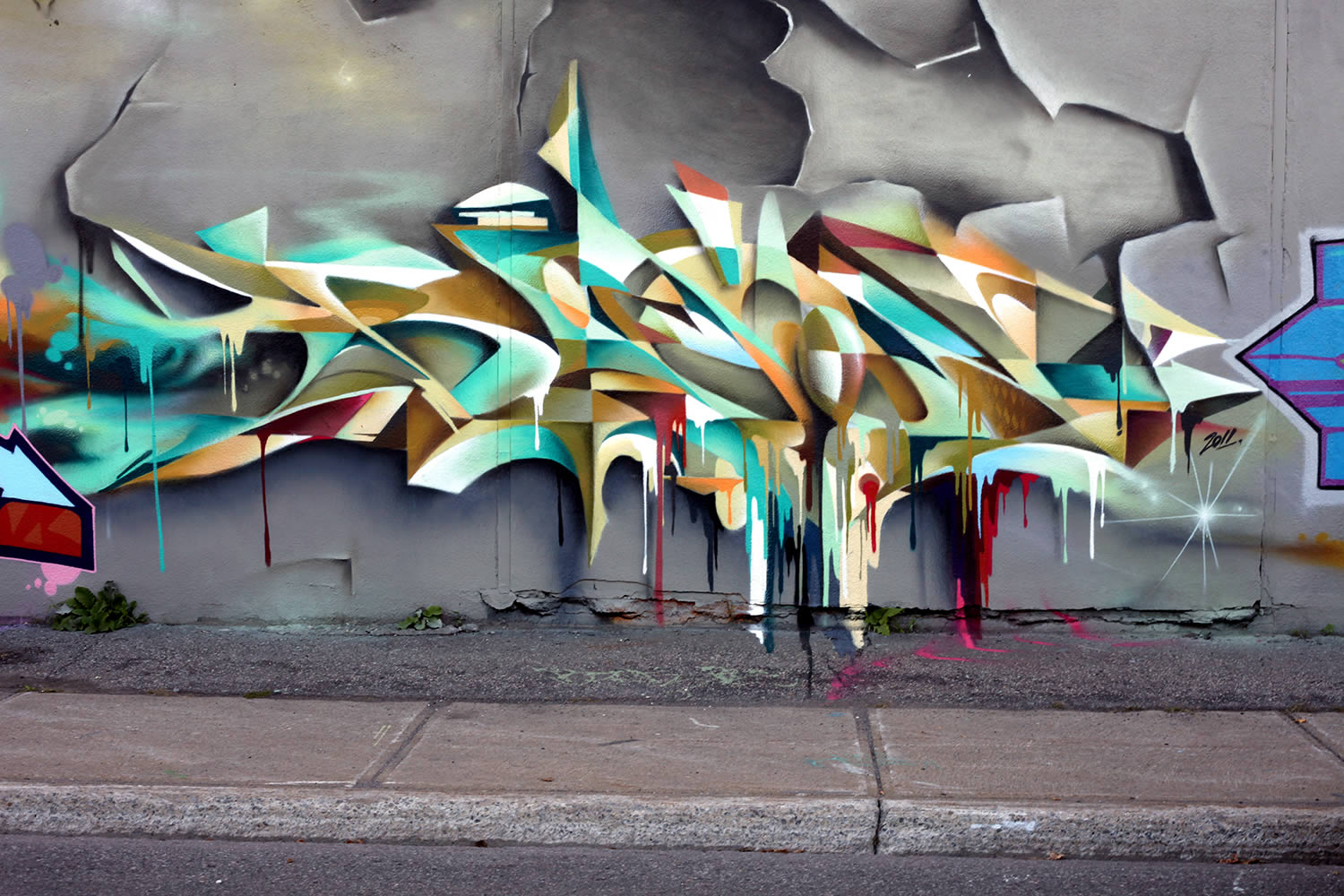 yellow, white and green graffiti by bacon