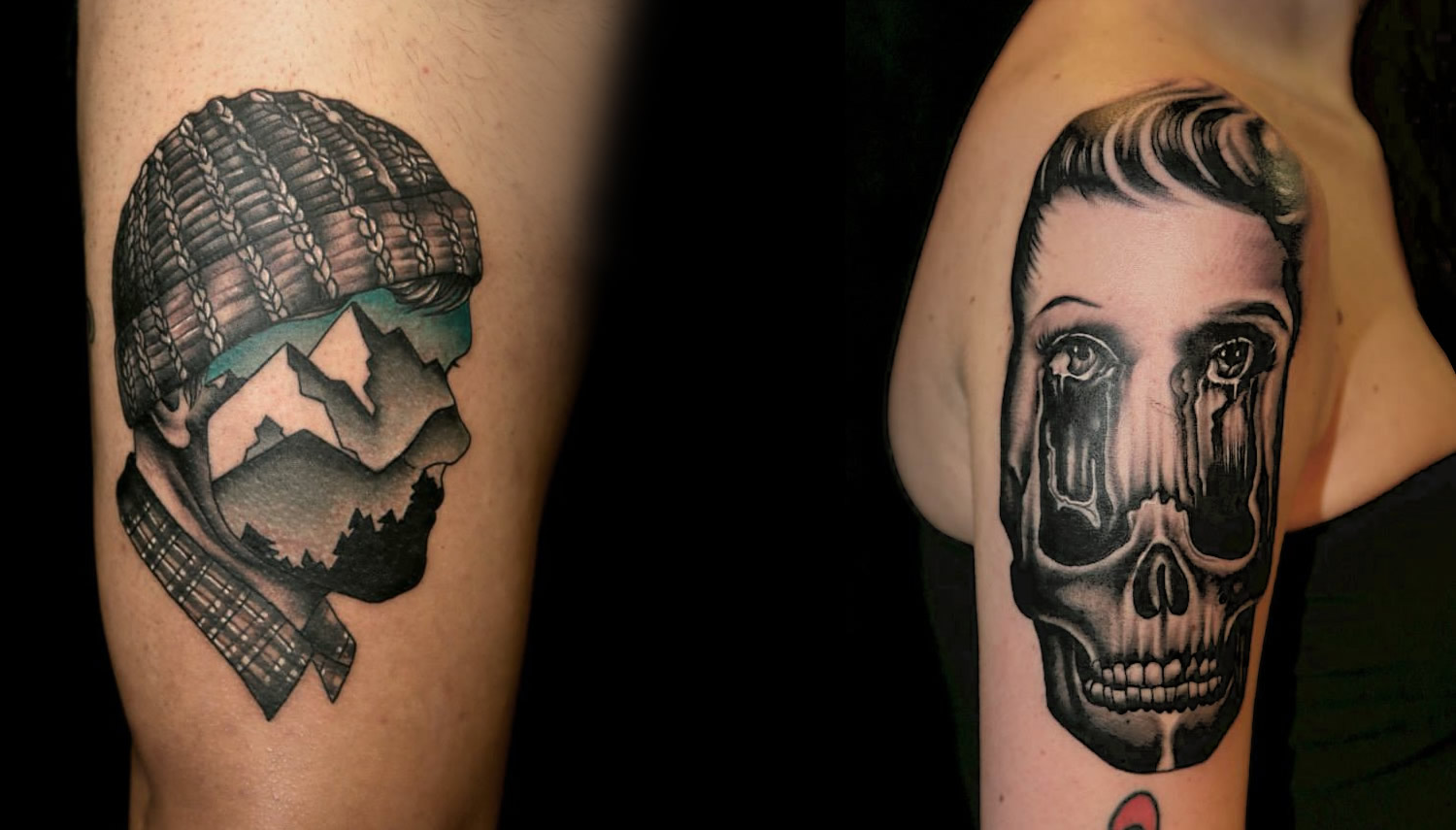 mountain man with knitted hat (illusional) tattoo, + woman's face melting into skull by pietro sedda