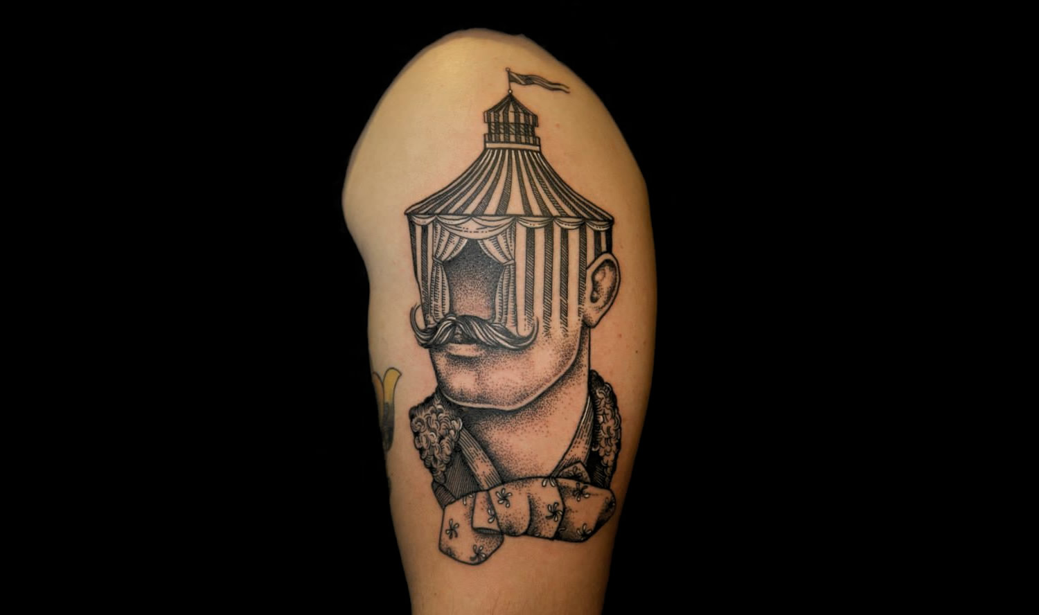 circus face moustache man (tent) tattoo by pietro sedda, italy.