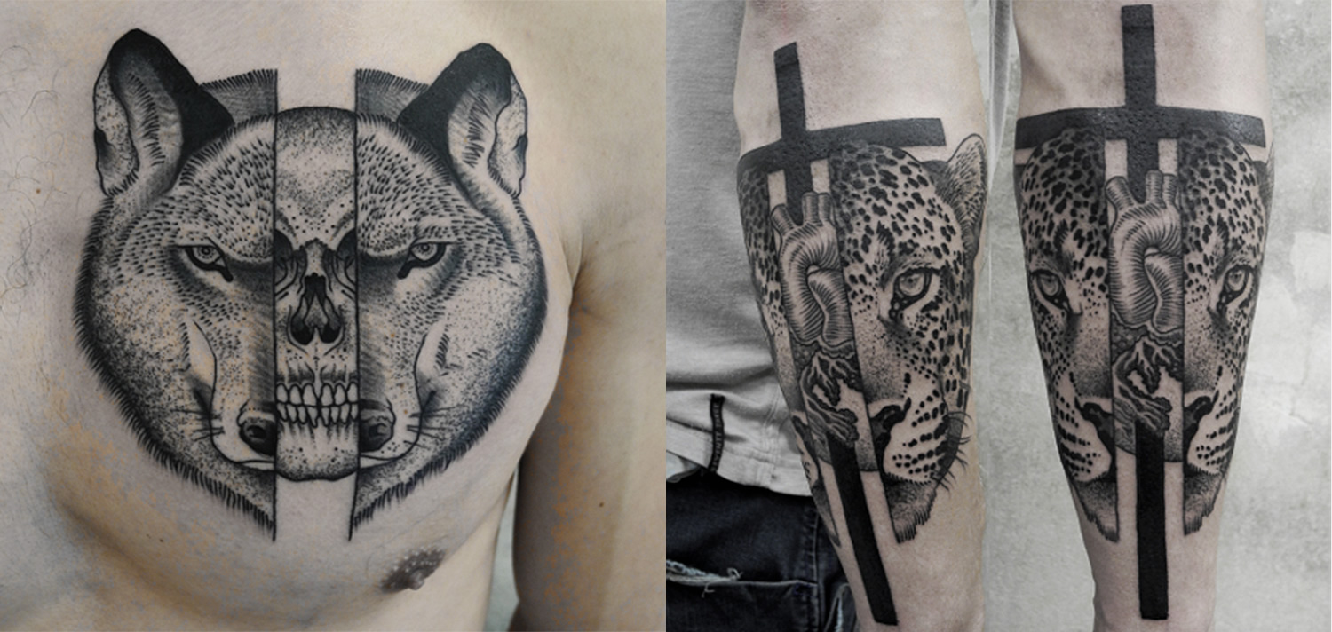 wolf head cut open with skull inside, and leopard head cut open with heart pumping inside. Tattoos by Valentin hirsch