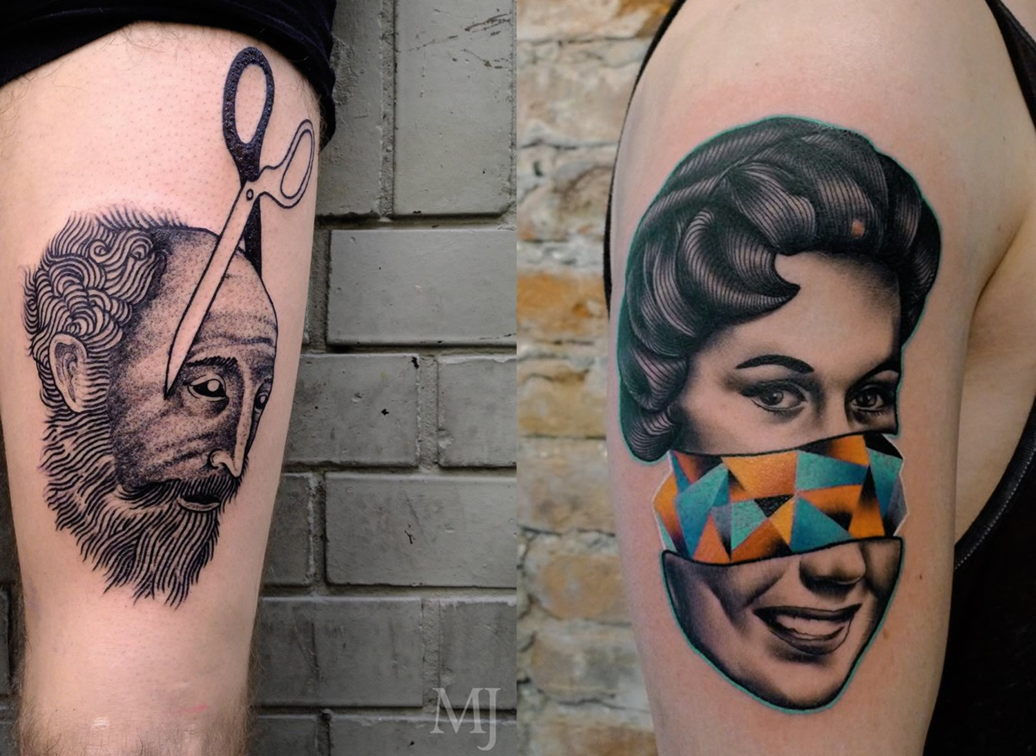scissor cutting head by Martin Jahn, and woman with sliced head and rainbow triangles by Mariusz Trubisz