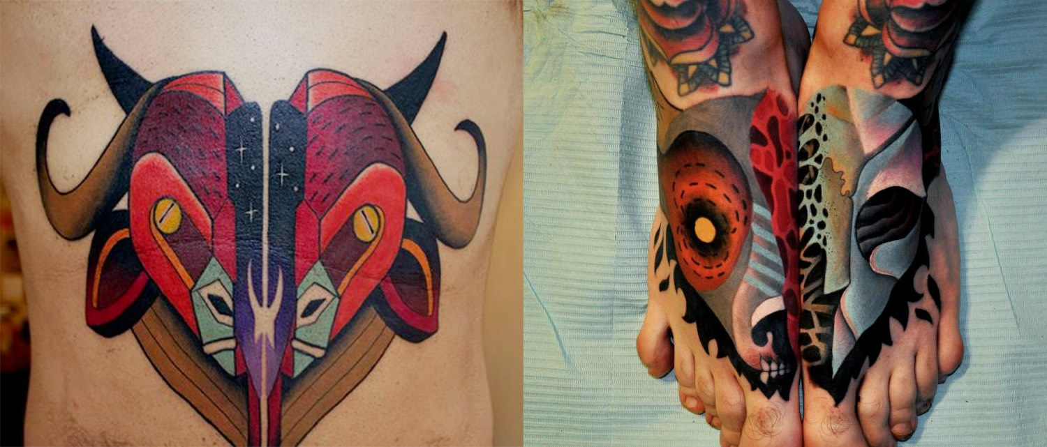 animal heads cut open, sliced in half, tattoos by Marcin Aleksander Surowiec