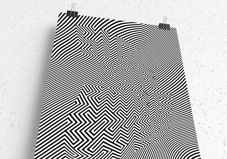 gareth chang graphic art black white illusion line